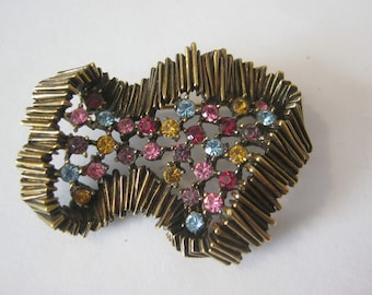 D'Orlan vintage signed & numbered goldtone modernistic brooch with multicolored rhinestones