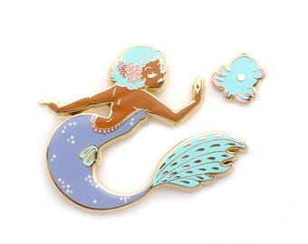 Dumbo Octopus Mermaid Pin Set (octopus mermaid black mermaid hard enamel pin lapel pin badge octopus jewelry cloisonne backpack pins)