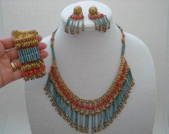 Vintage Egyptian Revival Style Faience Parure Fringed Bib Beaded Brass Necklace Bracelet Pierced Earring Set