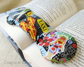 New York City Book Weight Page Holder - NYC weighted bookmark, OOAK light blue book accessory, cosmopolitan urban, chinatown chelsea taxi