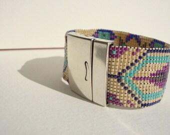 bracelet manchette bohême chic tissé,mauve,turquoise créme