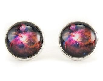 Orion Nebula Stud Earrings, Galaxy Jewelry, Nerd Space Ear Rings (1162SSER)