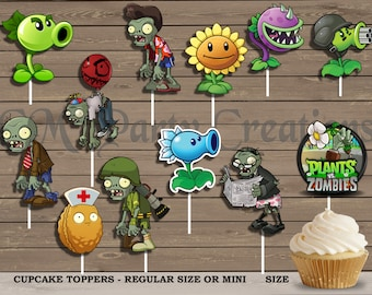 Plants vs Zombies Cupcake Toppers, Die Cuts, Birthday Party Cupcake Toppers