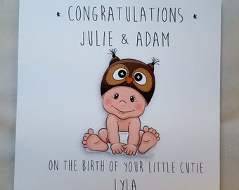 Personalised New Baby Congratulations Card (baby owl)