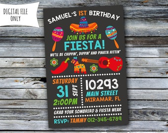 Fiesta Invitation / Fiesta Birthday Invitation / Cinco de Mayo (Personalized) Digital Printable File