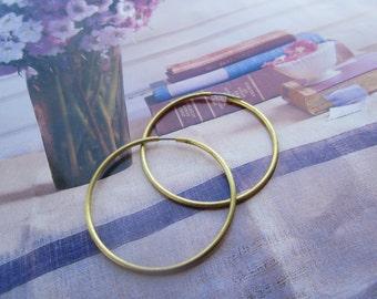 Vintage 38mm Raw Brass Hoop Earrings With Stainless Steel Ear Wires 6Prs.