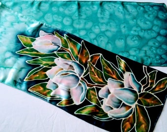 Magnolias on Teal Hand-painted Silk Scarf Ready to Ship Free Shipping