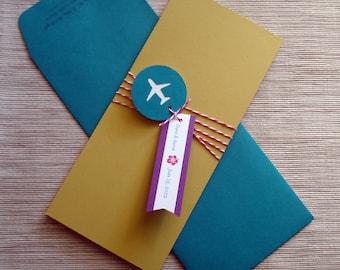Ziel-Hochzeits-Einladungen mit Retro Doppeldecker Flugzeug Ticket Bordkarte und Gepäckanhänger RSVP - DESIGN-Gebühr