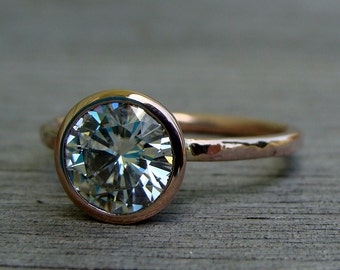 Moissanite Engagement Ring, Forever One G-H-I, with Recycled 14k Rose Gold - Solitaire, Hammered, Ethical, Eco-Friendly, Made To Order