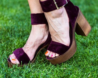 Burgundy Velvet sandals with buckle and genuine leather. Plush sandals. Marsala sandals. Red Barchent sandals. High heel sandals