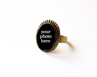 CUSTOM Cameo Ring With Your Photo - Custom Cameo - Custom Adjustable Ring - Custom Jewelry - Personalized Handmade Cameo Ring