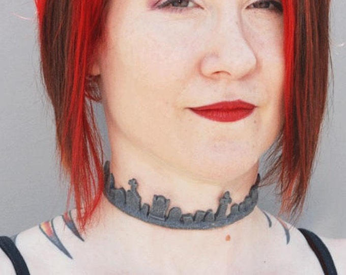 Creepy Gothic Cemetery Tombstone Necklace  choker -Faux Granite
