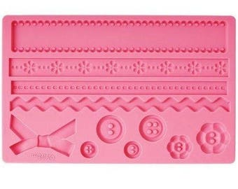 Silicone Cake Decorating Moulds - Baroque Buttons Zig Zags