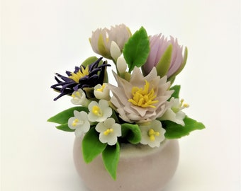 Vibrant Water Lily Handmade Miniature Polymer Clay Art Flowers for Dollhouse and Wedding Gifts