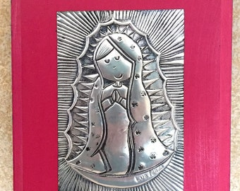 Our Lady/Virgin Mary metal on wood plaque