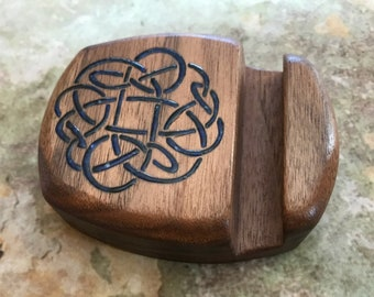 Wood Phone Stand Celtic Phone Holder Wood iPhone Stand Cell Phone Stand Smartphone  Unique One of a kind Phone stand Tablet Stand Walnut