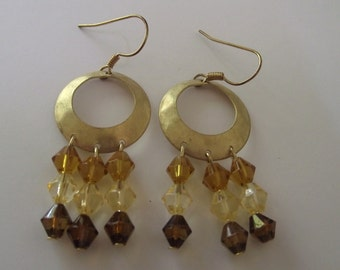 Gold Hoop Earrings Textured and beaded in shades of brown/yellows