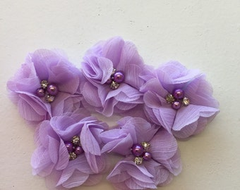 """2.5"""" Lavender Light Purple Chiffon Flower with Pearl and Rhinestone Center set of 5"""