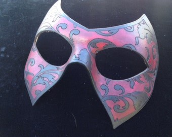 womans Floral Superhero leather mask handmade villian hero half mask