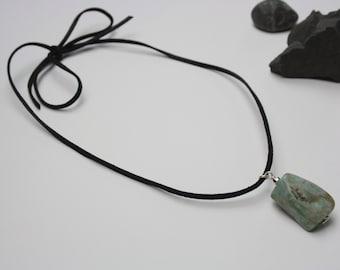 Amazonite genuine gemstone pendant necklace on suede cord