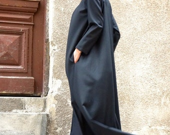 SALE New Maxi Dress / Black Kaftan/ Long Sleeves / Side Pockets / Extravagant Long  Dress / Party Dress / Daywear Dress by AAKASHA A03331