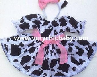 Cow Dress Farm Animal Peasant with Headband Custom Costume Dress,  Halloween Costume, Cow Costume, Birthday Girl