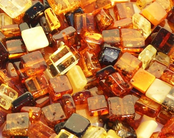 Polished Muliticolour Baltic Amber Square shape Beads with holes. 3 grams (approx 21 beads) or 10 grams (approx 70 beads), jewellery making