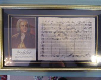 Antique Print Johann Sebastian Bach hand Writing Music sheet with Photo  in Frame
