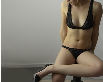 Bra and Panties - Lingerie  Black Sea // Undies Collection in Sheer French Lace handmade of Fransik