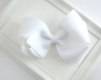 Girls White Hair Bow ~ Classic Boutique Hair Bow  Clip, First Communion Hair, Flower Girl Accessories, Toddler, Girls