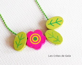 Necklace leaf • wood and metal • stackable children necklace, jewelry colorful playful Look •