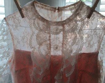 Retro Emma Domb! Pretty lace and pink satin shift dress, size M!