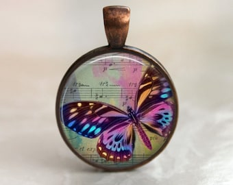 Painted Butterfly  Pendant, Necklace or Key Chain - Choice of 4 Bezel Colors