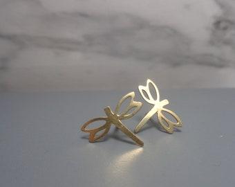 Dragonfly Gold Vermeil Earrings. 24K Gold Stud Dragonflies. Dainty Earrings. 24K Vermeil Studs. Minimalist Dragonfly Gold Studs.