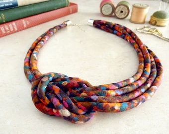 Red Knot Necklace - Chunky Collar Necklace - Fabric Rope Necklace - Liberty Print Necklace - Alternative Bridal Jewelry - Gift for Mum