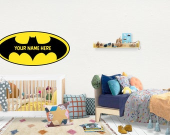 Batman / Wall Vinyl Decal Sticker / Nursery Baby Toddler Kid Children Room / Decor Decoration / Gift Present / Personalized Custom