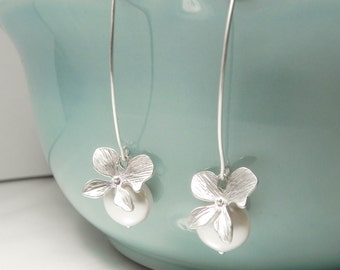 Silver Orchid Earrings with Pearl Dangle - Bridal Dangle Earrings -  Modern Wedding Earrings - Bridesmaid Gift - Flower Dangle Earrings