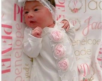 Personalized Baby Blanket, Baby Name Blanket,  Baby Girl, Receiving Blanket, Monogrammed Blanket,  Personalized Swaddle Blanket