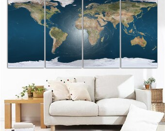 4 Panel Split World Map Canvas Print. Texture digitally applied photograph For home office wall decor & interior design. Great Holiday gift.