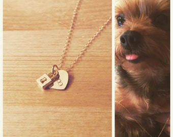 gold heart & lock necklace