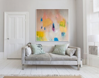 """ABSTRACT Print , large print, beige yellow and blue, abstract art  """"Out of Her Loop 2"""""""