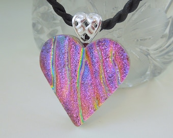 Heart Pendant - Valentine Heart - Dichroic Fused Glass Pendant - Dichroic Glass - Fused Glass - Heart Necklace - Pink Necklace X4284
