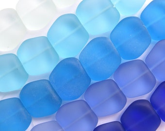 Sea Glass BEADS 18x17mm Square Nugget Assorted Blue Drilled 6 pc Strands Making sea glass jewelry