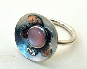 Sterling Silver, Copper, MOTHER of PEARL MOD Flower Ring - Handmade one of a kind, Size 6 3/4, with 8 mm Pink Mother of Pearl Gemstone