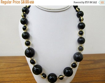 On Sale TRIFARI Retro Graduated Black and Gold Tone Beaded Necklace Item K # 481