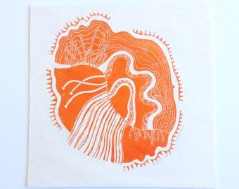 linocut - DRIFTLESS DREAM // 12x12 art print // printmaking // block print // orange // nature art // original art // 10x10 // wall art