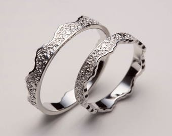 Hers and Hers Wedding Ring Set, White Gold Ring Set, Crown Ring Set, Her and Her Wedding Bands, Hers and Hers Rings, Hers and Hers Set