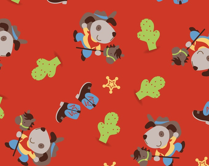 Red Cowboy Dog Cotton Flannel by Camelot