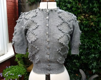 Retro Vintage 1930s/40s style grey wool hand knitted cardigan size UK 10/12