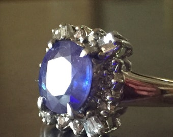 4+TCW Violetish blue cornflower natural sapphire Diamonds halo 14k gold white and Champagne diamonds Ring